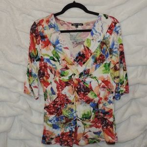 Cable and Gauge Front Knot Blouse Watercolor